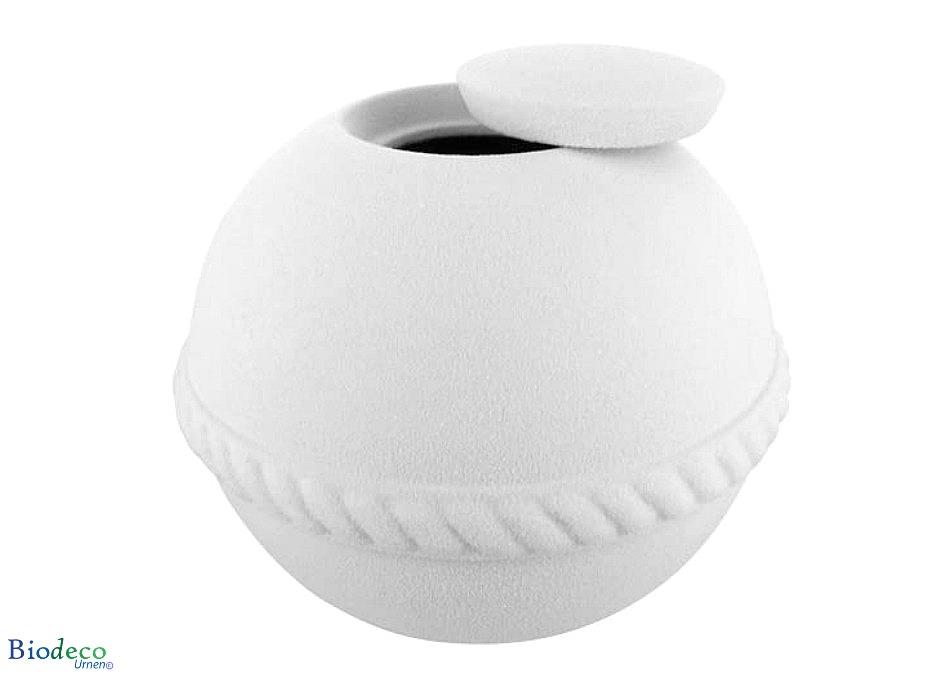 De hagel witte Quartz Round zee-urn, gemaakt van kwarts dat wordt gebonden door natuurlijke planten extracten