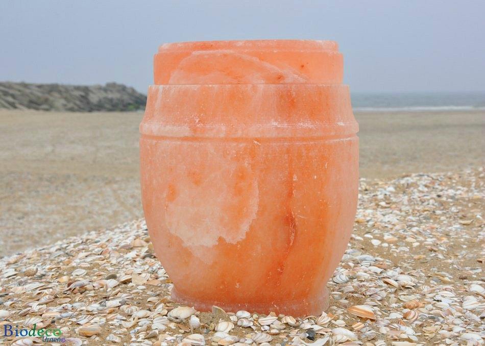 De zout-urn Himalaya op het strand van Scheveningen, met de havenhoofden in de Noordzee op de achtergrond