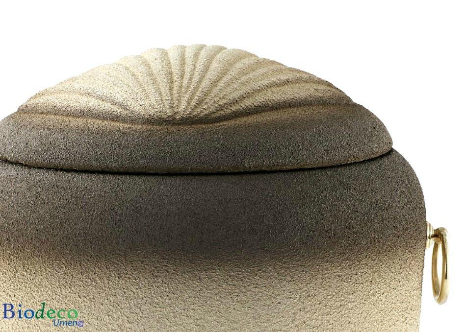 Detail van de biologisch afbreekbare zee-urn Jacobsschelp voor een asbijzetting in het water
