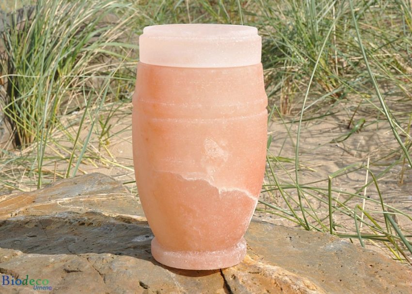 Oplosbare mini zee-urn van Himalaya zout, opgesteld op een rots