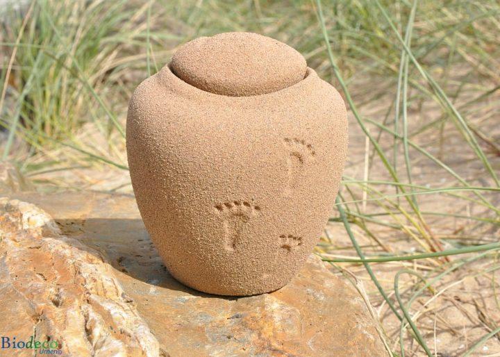 De biologisch afbreekbare mini Ocean Sand Footprints zee-urn op een rots voor helmgras