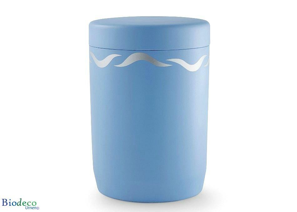 De biologisch afbreekbare zee-urn Zilveren Golven, voor asbijzetting in het water