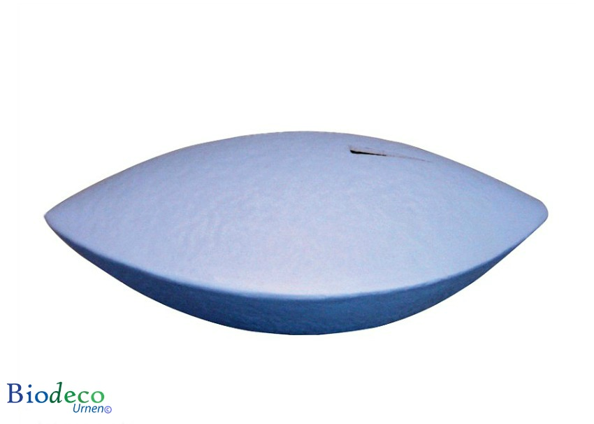 De biologisch afbreekbare memento zee-urn in de kleur blauw, voor een asbijzetting in het water